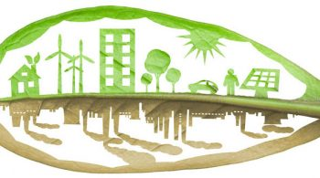 Green Ecology City Against Pollution Concept, Isolated Over White